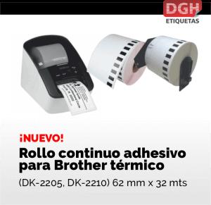 Rollo continuo para Brother térmico en DGH Etiquetas autoadhesivas